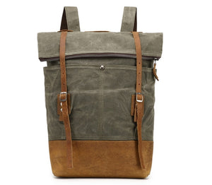 Canvas Leather Casual Backpack