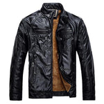 Fur inside Men Motorcycle Leather Jacket
