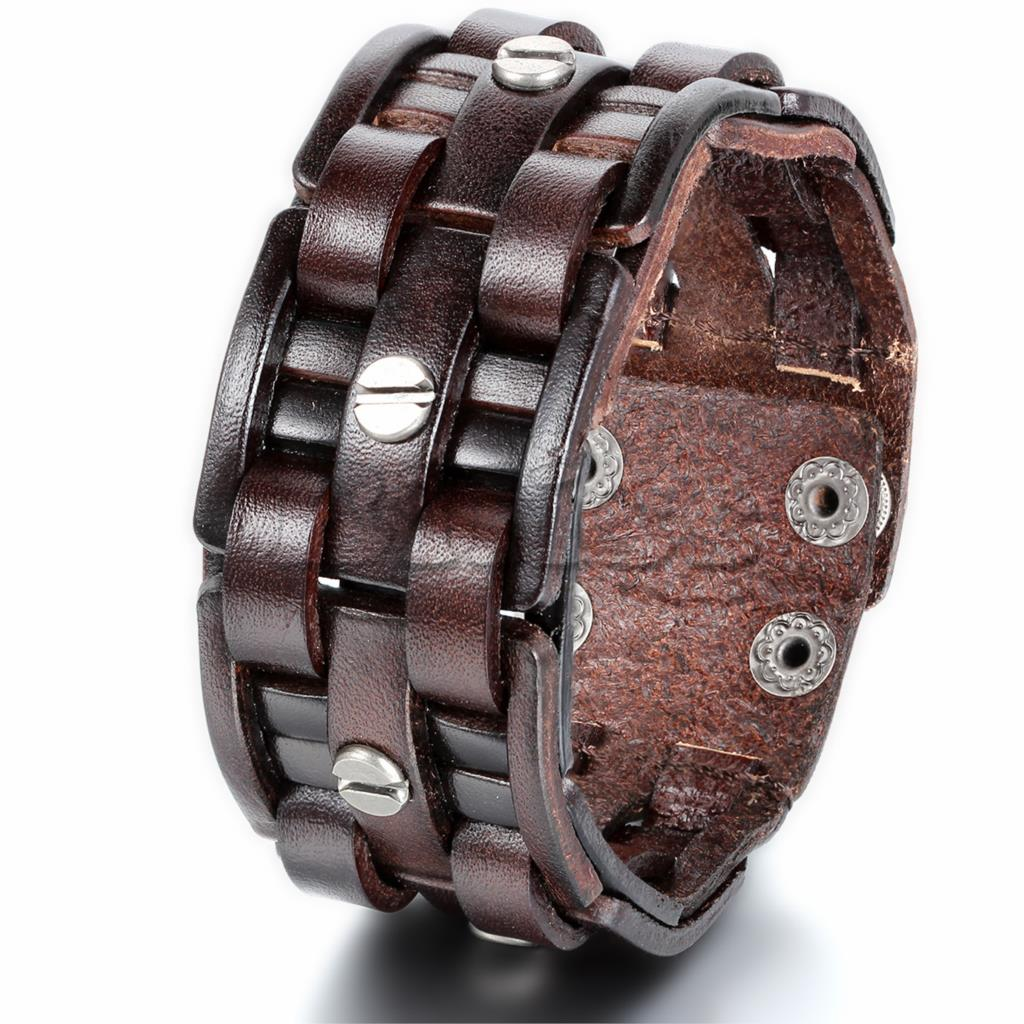 Rock Punk Wide Cuff Leather Bracelet