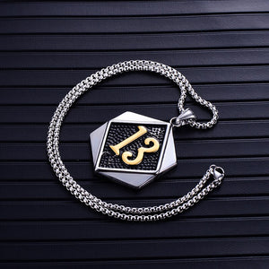 Biker Lucky 13 Tag Pendant Necklace