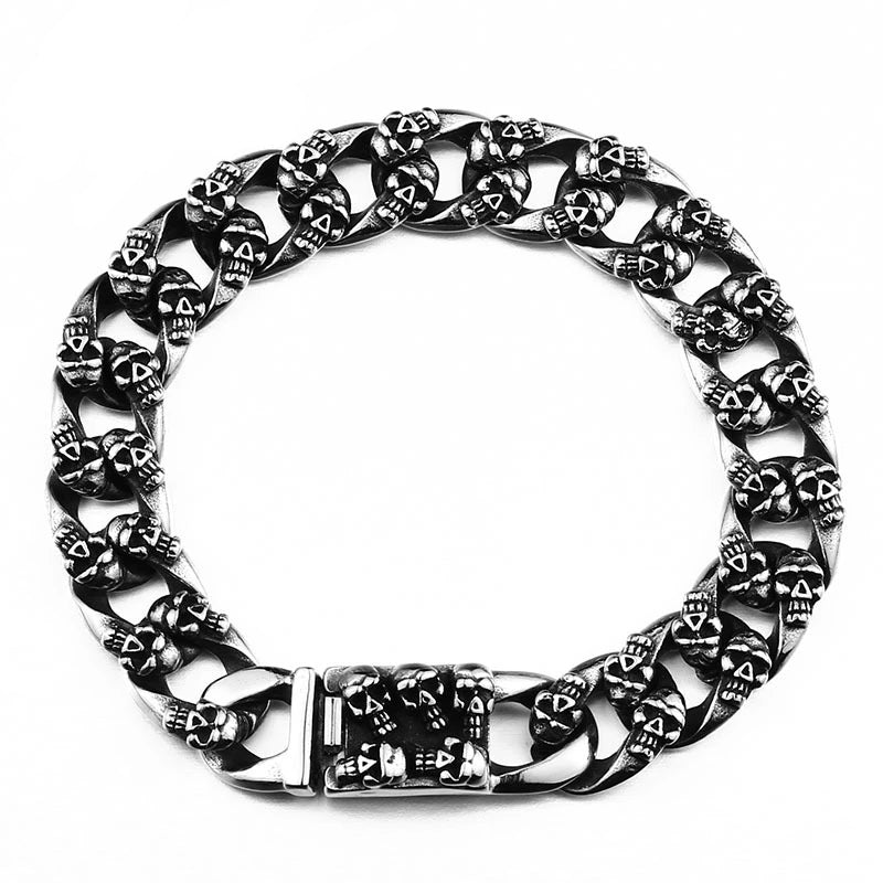Unique Cool Steel Skull Bracelet