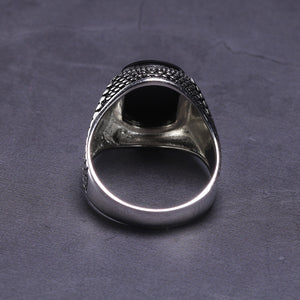 925 Sterling Silver Natural Onyx Stone Ring