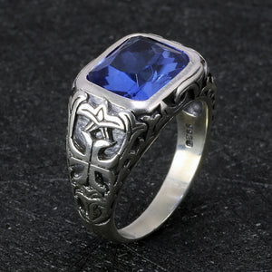 925 Sterling Silver Blue Natural Crystal Stone Ring