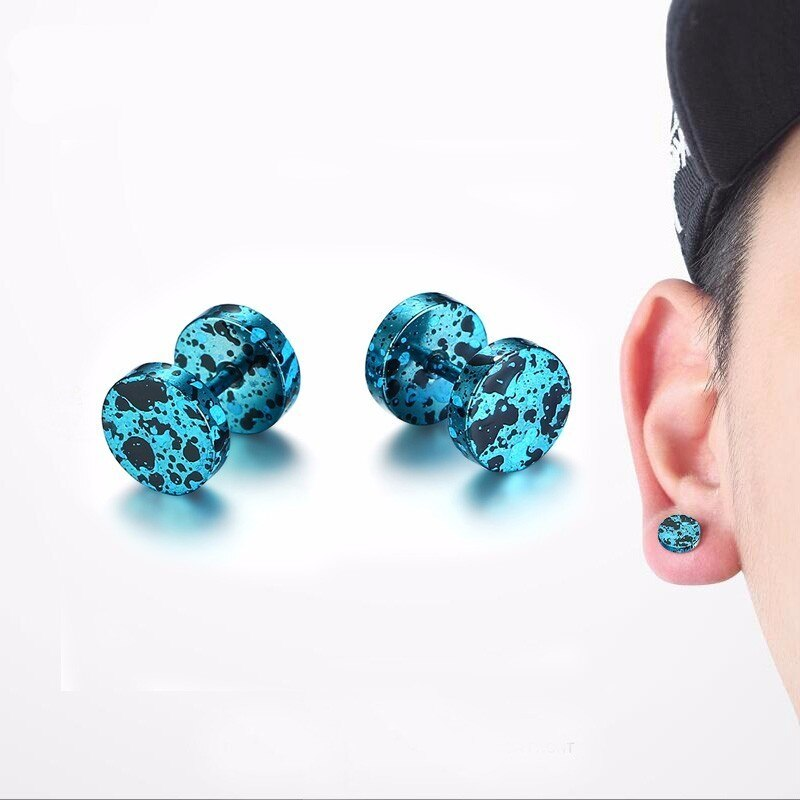 Stainless Steel Camouflage Color Cartilage Stud Earrings