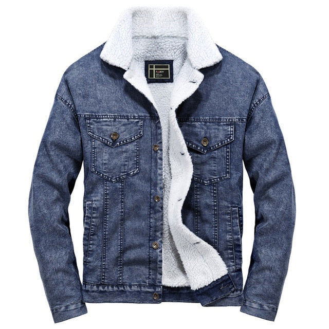 Breasted Fleece Thick Denim Jacket