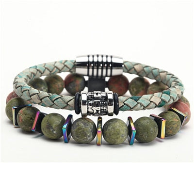 Fashion Stone from Other Planet and Leather Bracelet