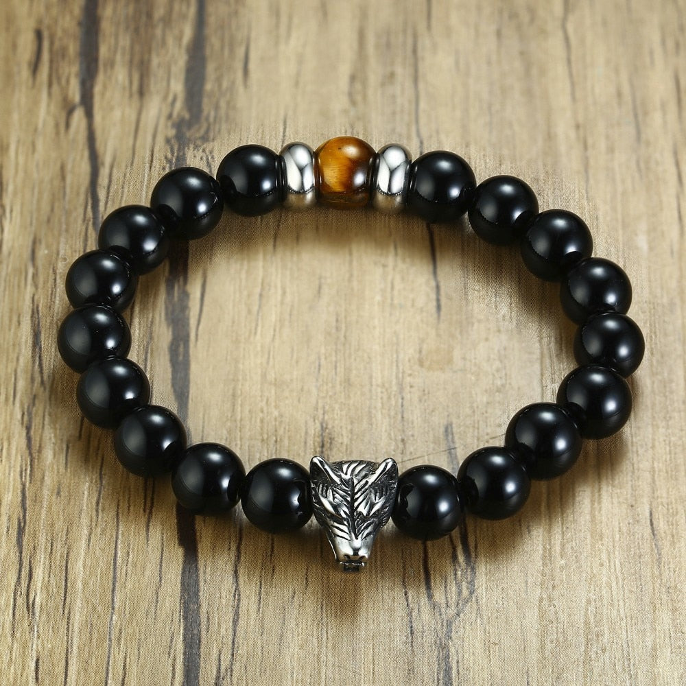 Wolf Head Tiger Eye Stone Black Carnelian Beaded Bracelet