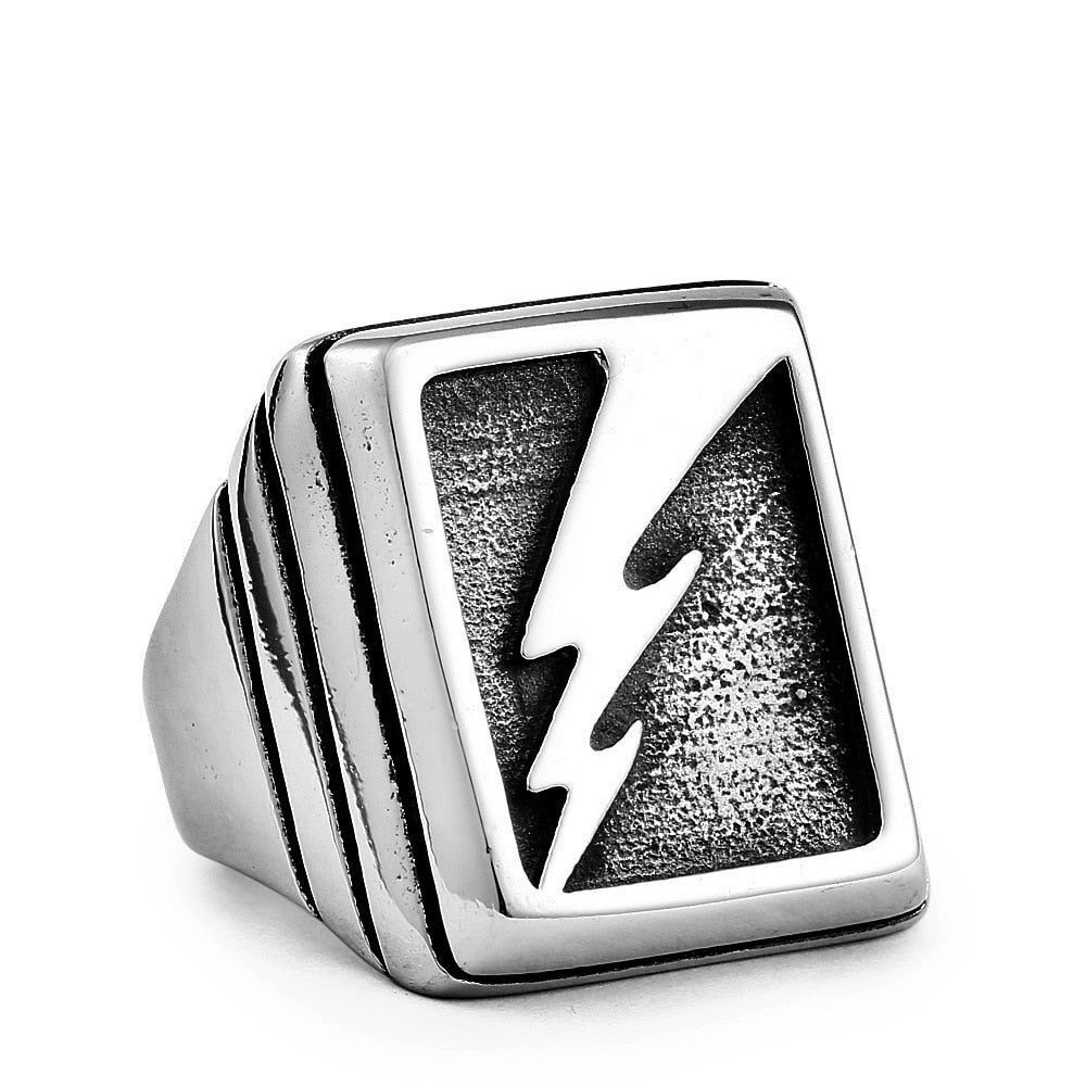 Lightning Pattern Titanium Steel Rings