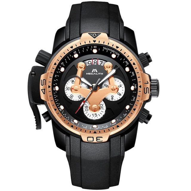 Big Dial Multi Functional Silicone Strap Watch