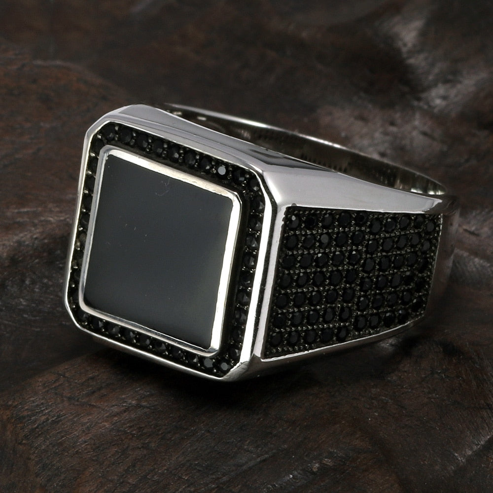 925 Sterling Silver Black Square Stone Imitated Ring