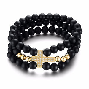 Triple Strand Black Cross Beaded Bracelet