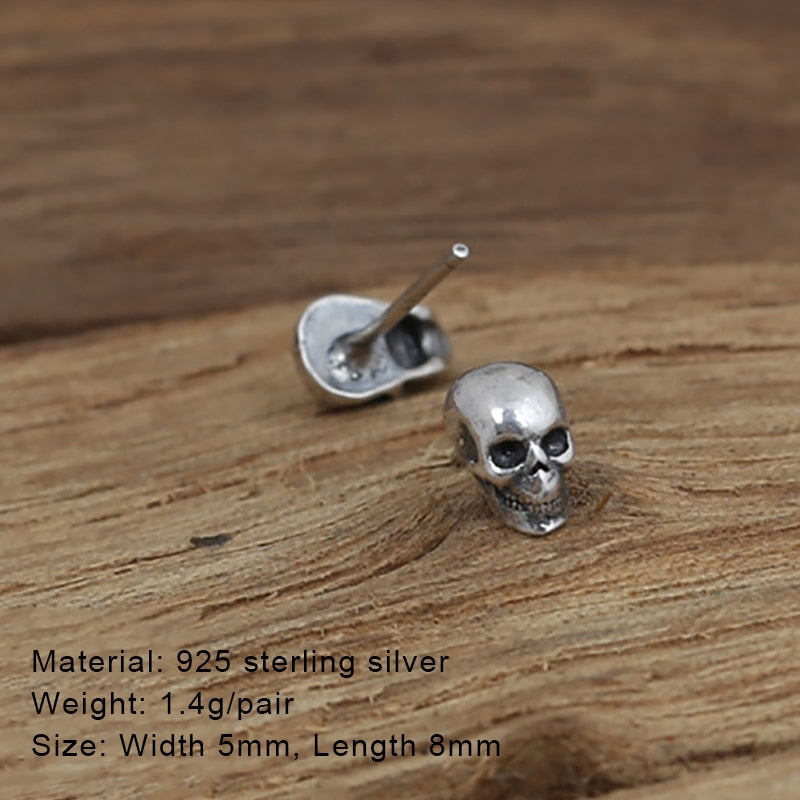 925 Sterling Silver Rock Punk Gothic Vintage Skull Earrings
