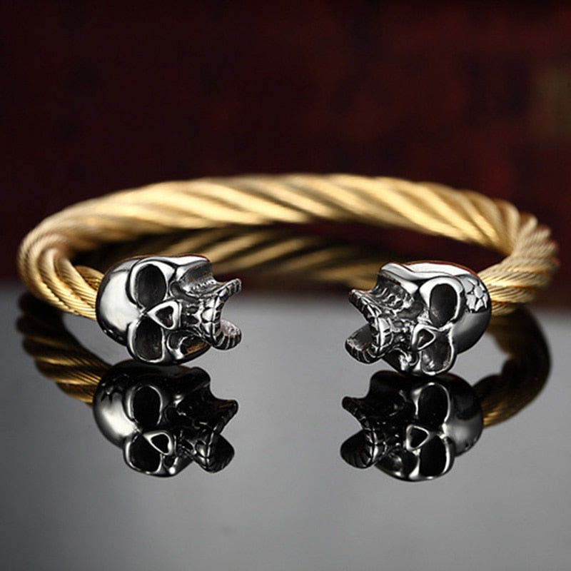 Steel Skull Heads Twisted Gold color Wire Cable Bracelet