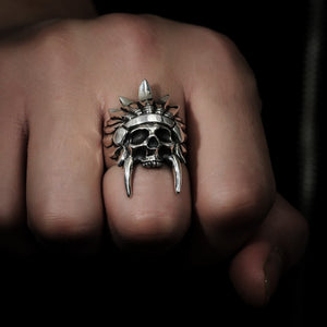 African Tribal Chief Skull Ring