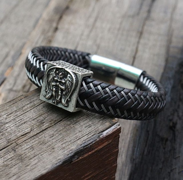 Black Braided Leather Cuff Steel Magnetic Clasp Bracelet