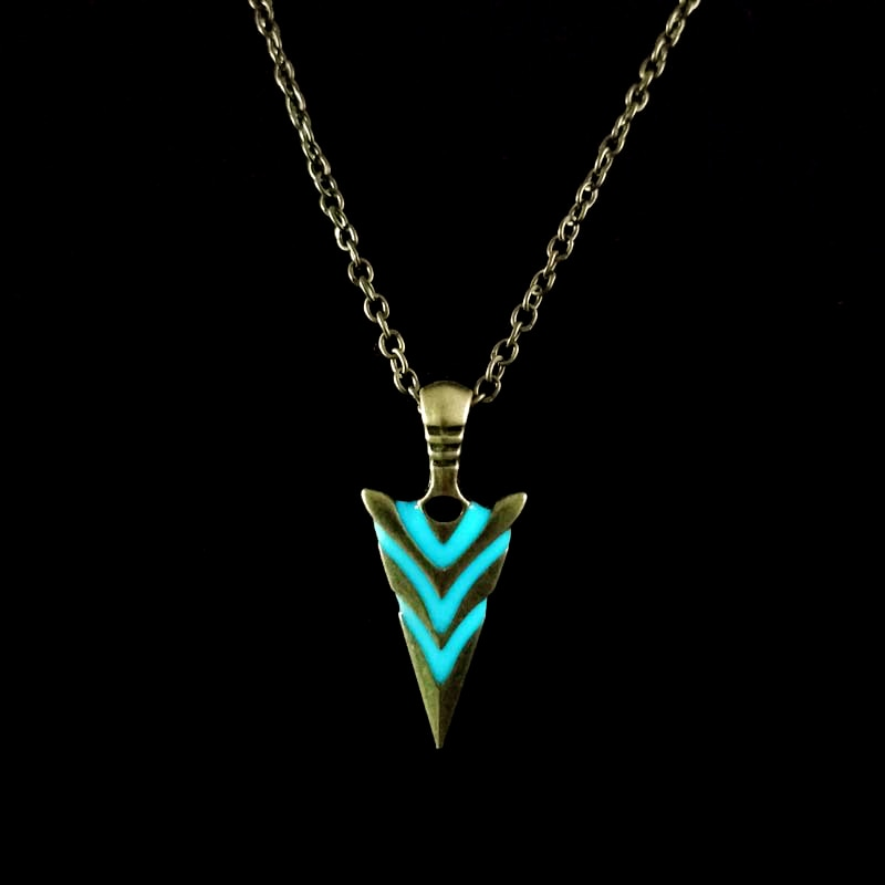 Stainless Steel Glowing Green Arrow Spear Pendant Necklace