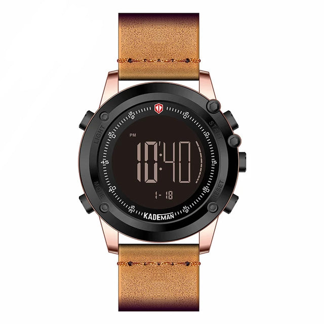 Fully Digital Leather Strap Sports Watch