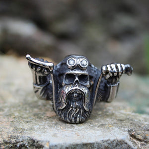 Punk Rock Wild Motorcycle Skull Rings