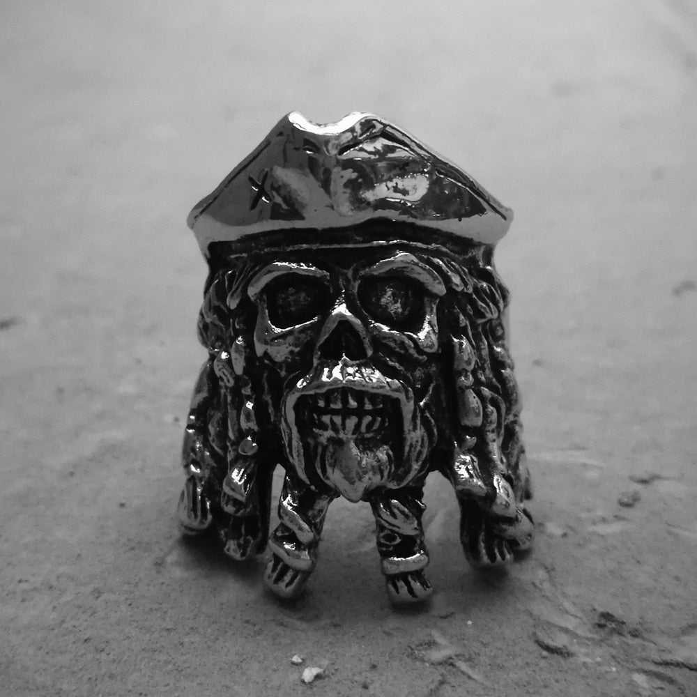 Black Pearl Captain Biker Ring