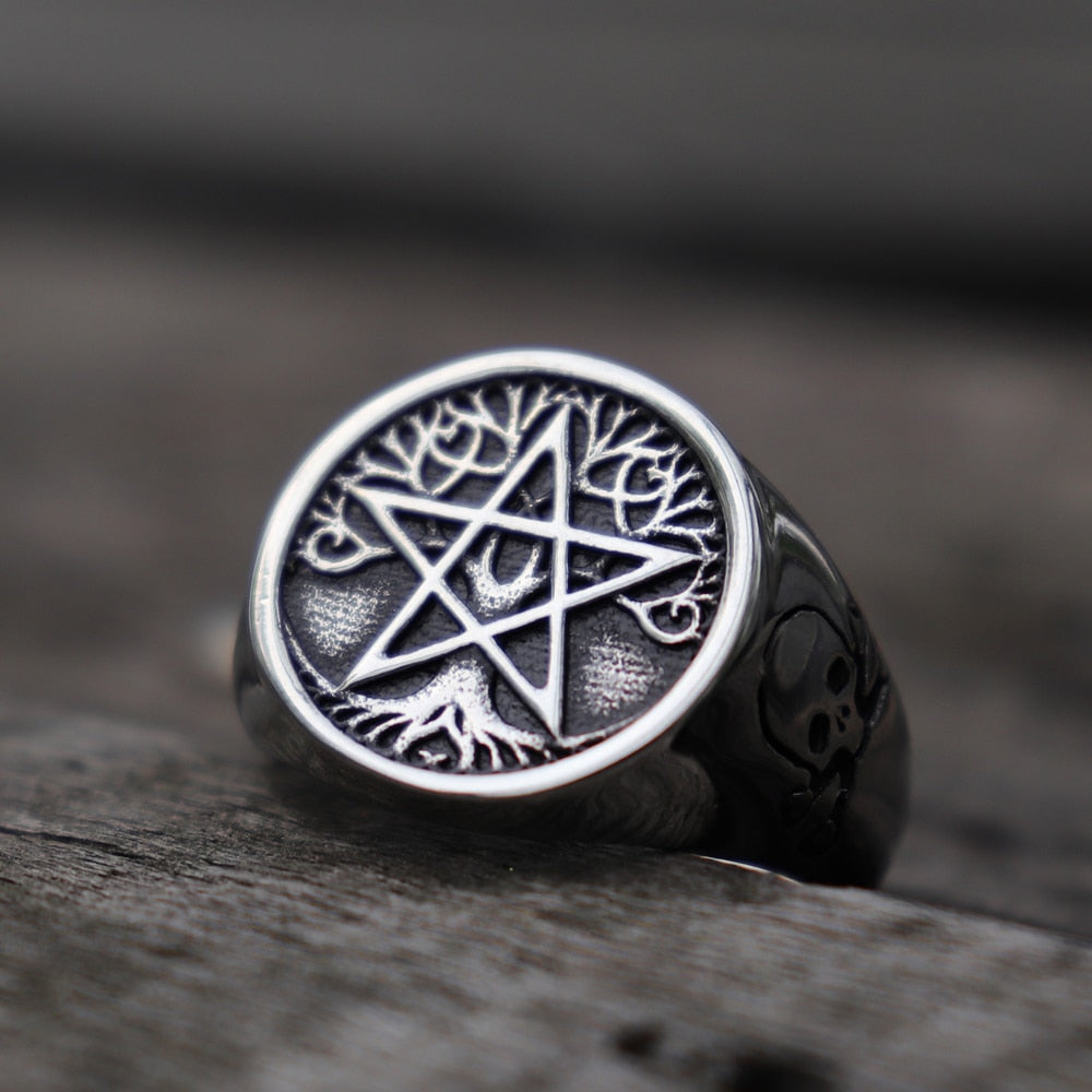 Pentagram Tree of Life Skull Rings