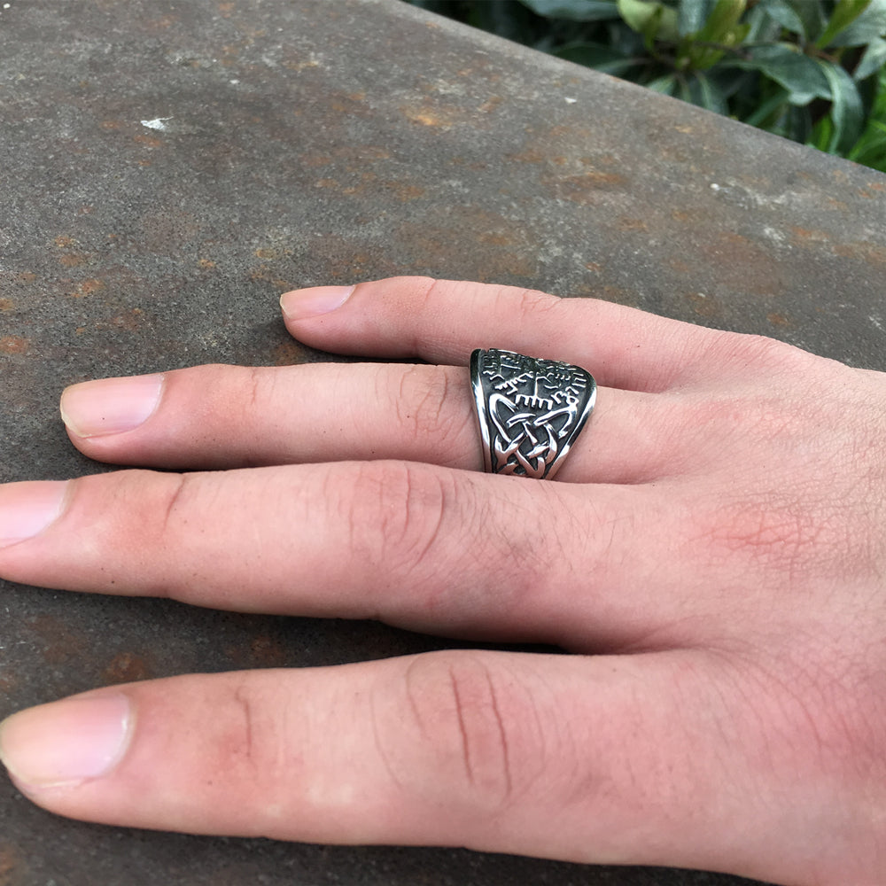Viking Compass Runic Statement Ring