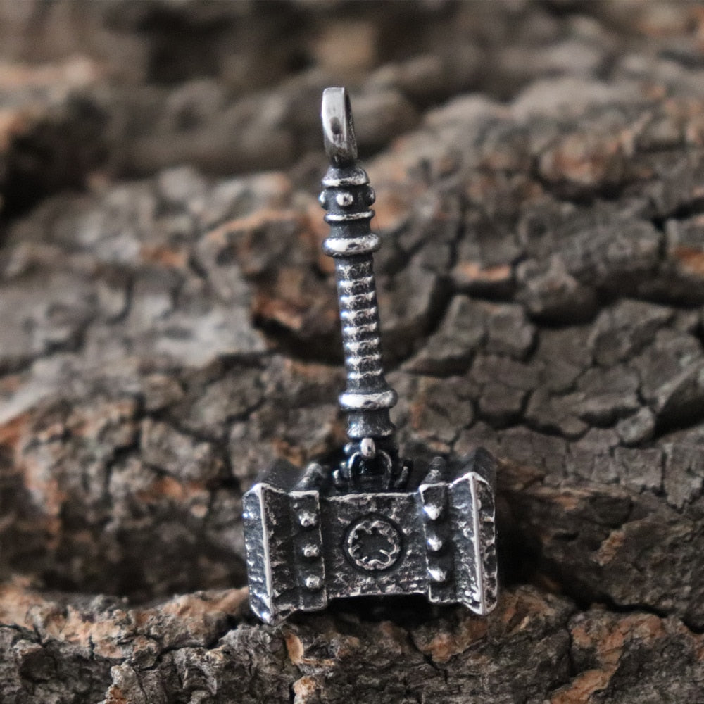 Viking Thor's Hammer Runes Pendant Necklace