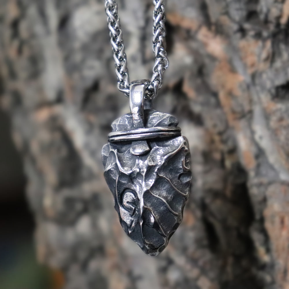 Viking Rune Stone Arrow Stainless Steel Pendant Necklace
