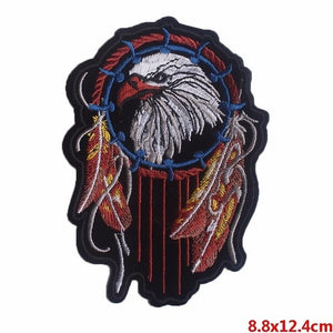 Eagle Embroidery Biker Appliques Motorcycle Iron On Patches For Clothing