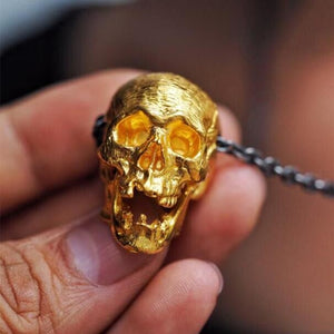 Gold Color Copper Skull Pendant Necklace
