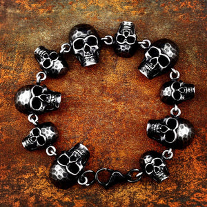 Steel Linked Retro Skulls Bracelet