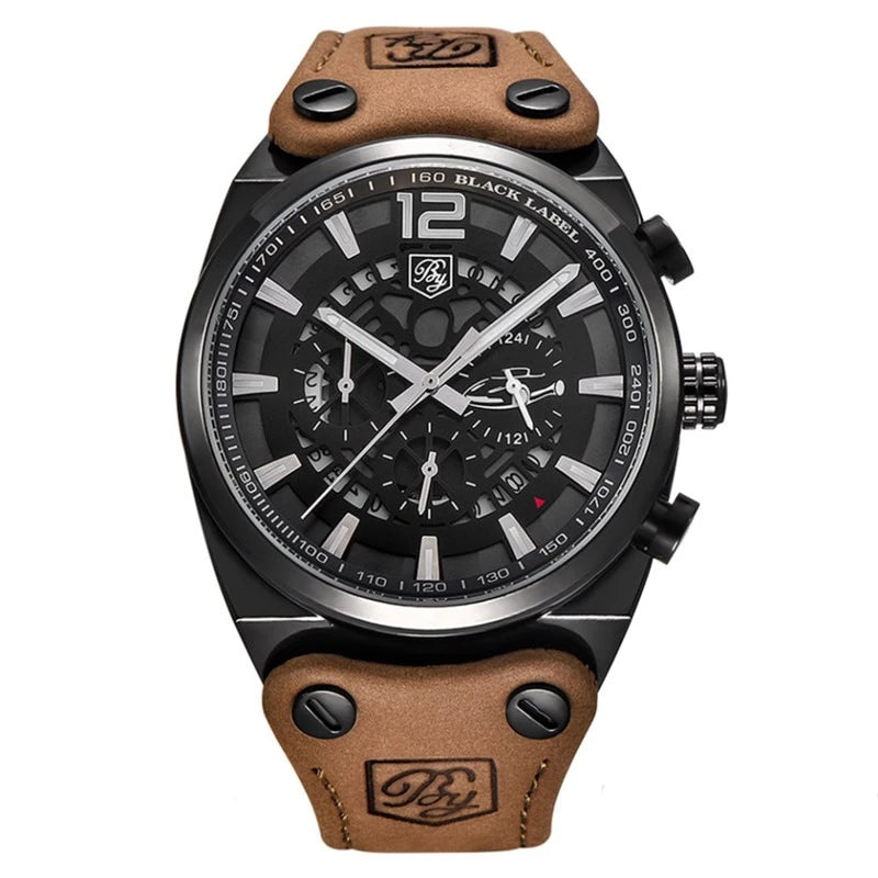 Casual Chronograph Multi Functional Leather Strap Watch