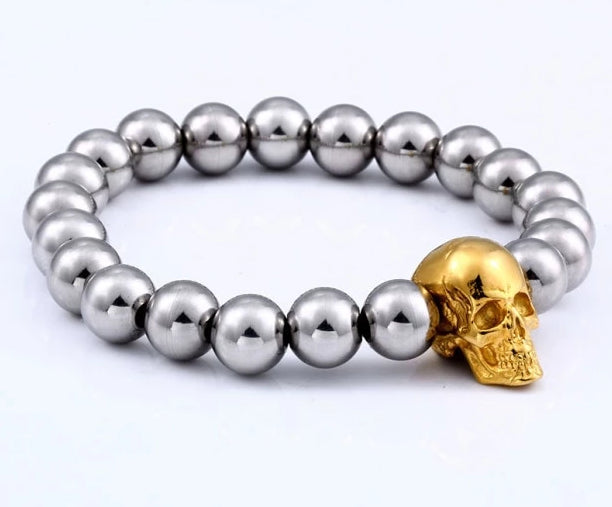 Steampunk Metal  Steel Beads Chain Skull Bracelets