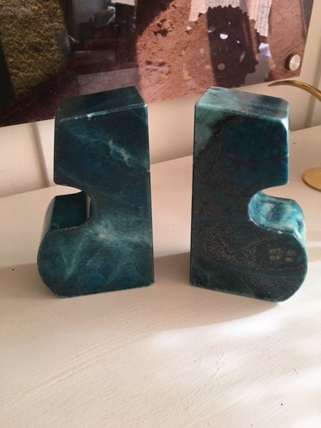 Vintage Rare Blue Alabaster Bookends-SOLD
