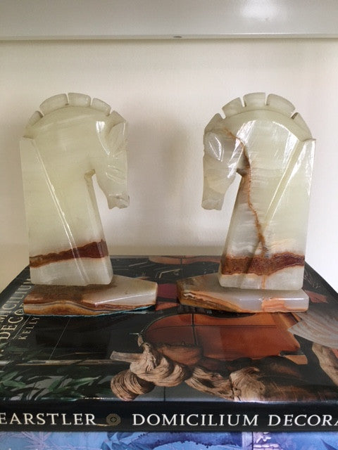 Vintage Marble Horse Head Bookends-SOLD