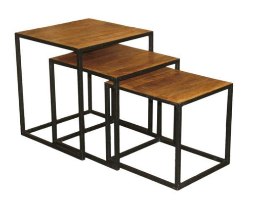 Wood and Iron Nesting Tables (Set of 3)