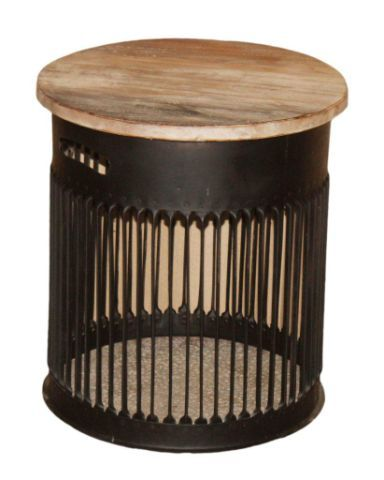 Iron stool with wood top