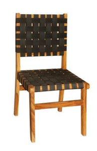 Wood Chair with Leather Strap Weave