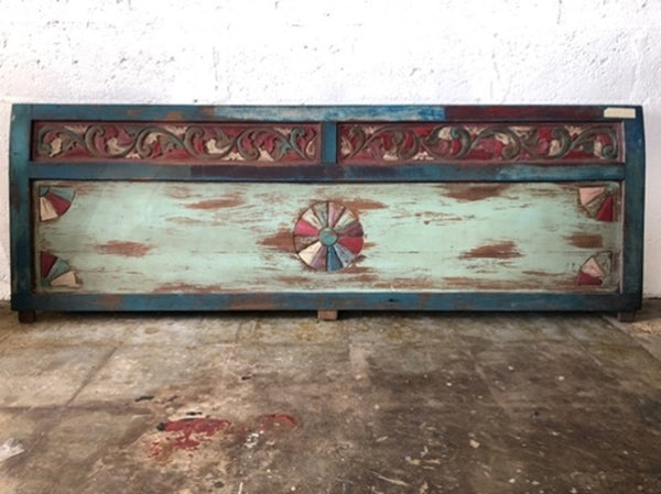 Hand Carved and Painted Headboard