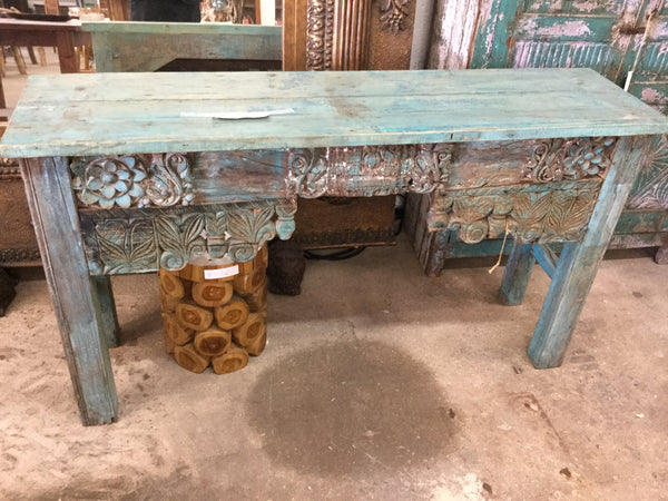 Hand carved console table (blue)