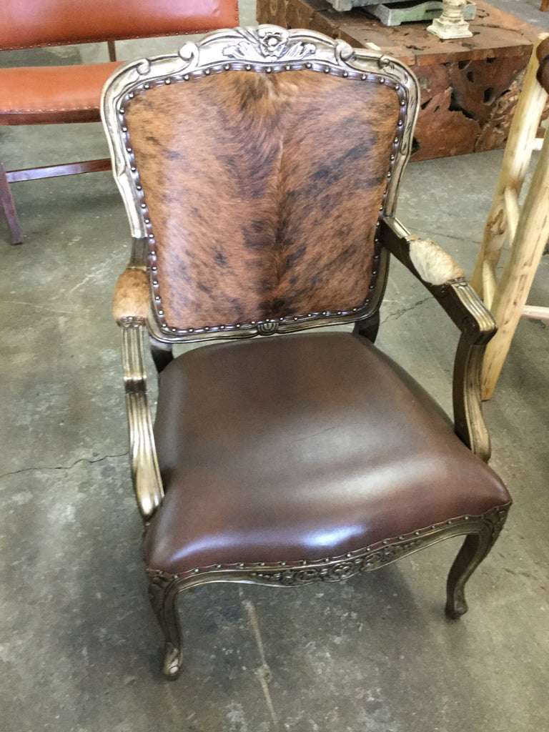 Garcie French Cow Leather And Hide Arm Chair