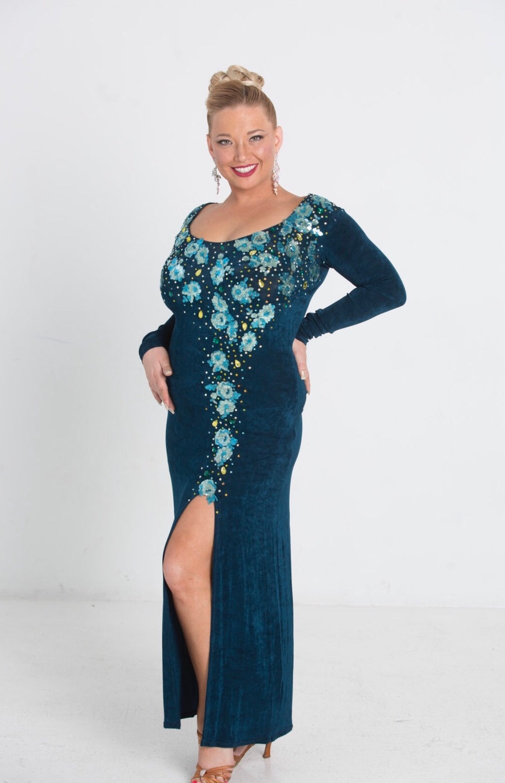Long Sleeve Slinky Evening Gown