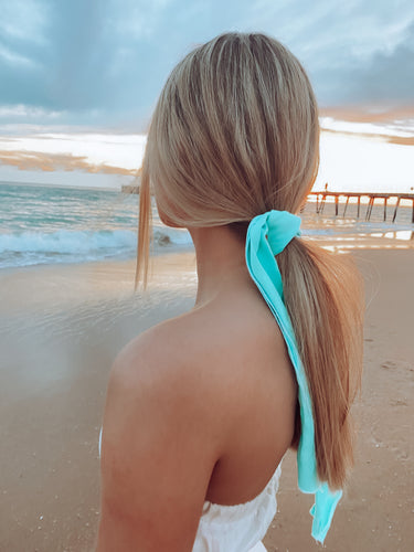 The Maldives Hair Scarf in Turquoise Blue