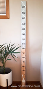 Handmade wooden height chart made in New Zealand
