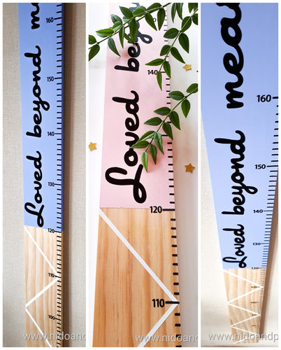 Wooden height chart made in New Zealand | hand painted height chart | tall timber height chart, custom made height chart, wooden growth chart