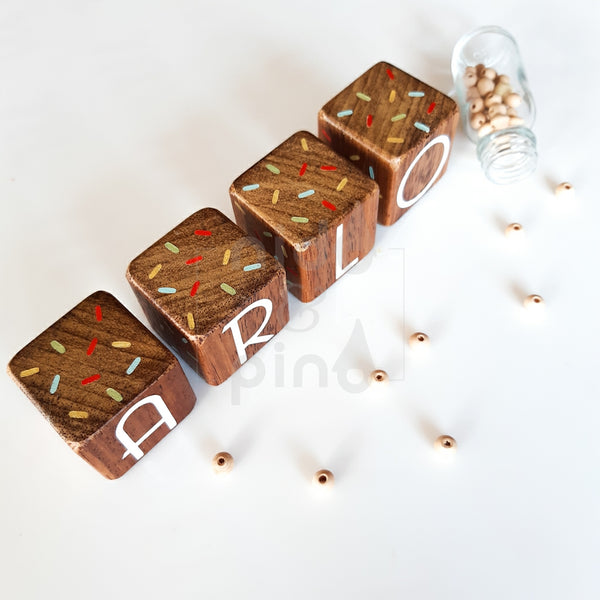 Hardwood Name Blocks with sprinkles