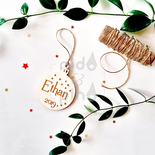 Personalised Natural Christmas baubles