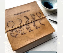 Load image into Gallery viewer, Square Size Moon Phases Embossed Leather Journal