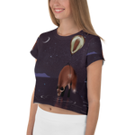 crystaleyeshop | Crop-top con ritratto di volpe sul lago | Donna | Crop top All-over
