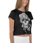 Immagine di Crop-top con Teschio e Serpente | Crop-top with Skull and Snake  Donna-Woman