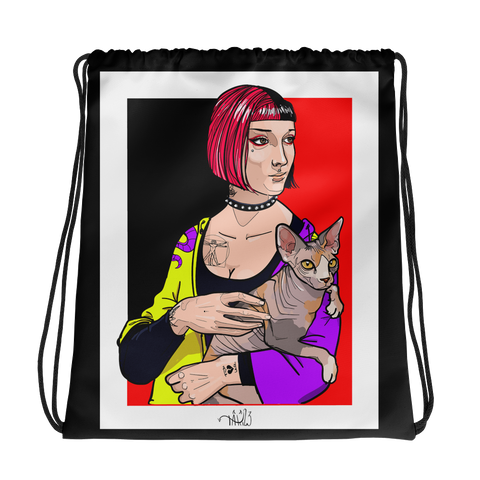Immagine di Borsa sacchetto con La dama con lermellino | Subjective art LIMITED EDITION  Donna